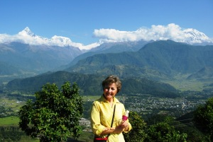 Linda in Pokhara-overlooking the valley-Mt Fishtail & Annapurna range