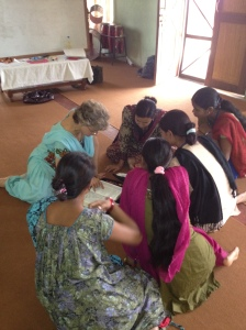Linda encouraging young Pastor's wives in Nepal.
