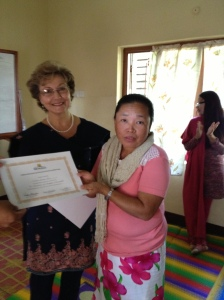 Women in Nepal receiving their certificates! Such a reward to teach others!